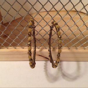 Brass Tone Tan Beaded Fashion Hoop Earrings